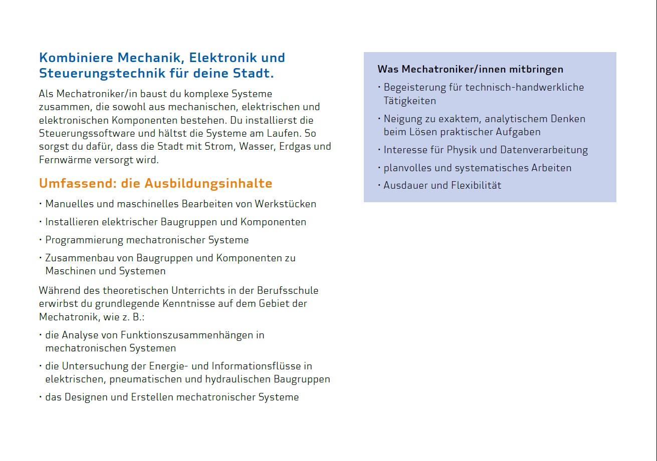 Ausbildung zum/zur Mechatroniker/in | Stadtwerke Saarbrücken